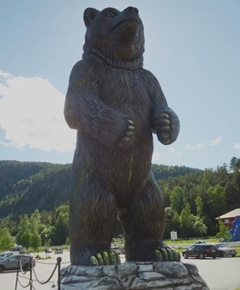 フラFlaのクマ牧場下のショッピングセンター入口の熊
